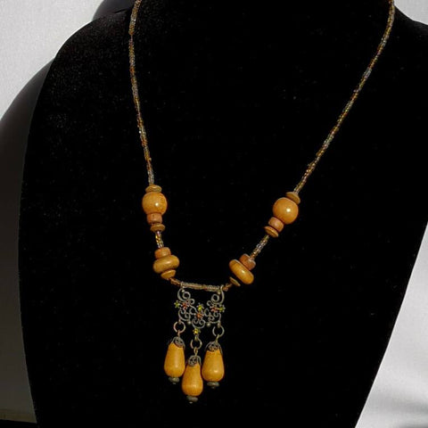 Wood Beaded Celtic Necklace - Druantia Necklace - Necklace - 1
