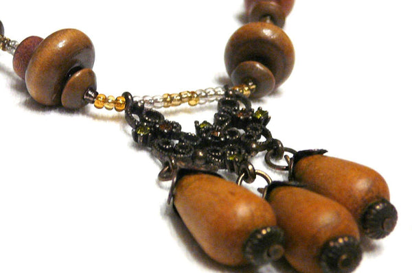 Wood Beaded Celtic Necklace - Druantia Necklace - Necklace - 4