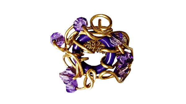 Purple and Gold Statement Ring | MysticTrinketShop.com - Rings - 1