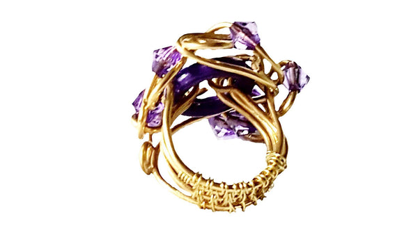 Purple and Gold Statement Ring | MysticTrinketShop.com - Rings - 2
