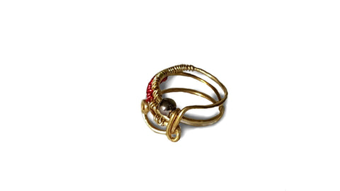 Red and Gold Wire Wrapped  Ring - Rings - 1