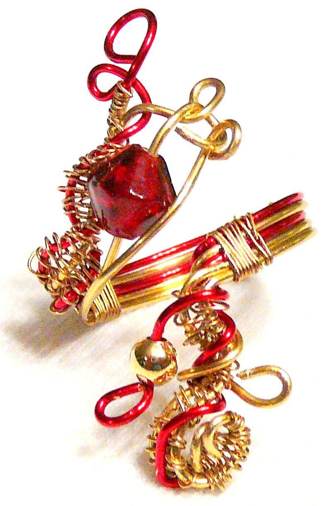 Red and Gold Wrapped Copper Ring - Lost Dutchman Goldmine Ring- By Mystic Trinket Shop - Rings - 1