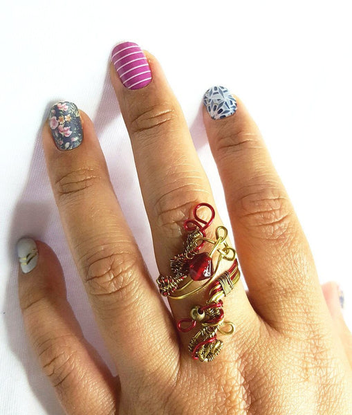 Red and Gold Wrapped Copper Ring - Lost Dutchman Goldmine Ring- By Mystic Trinket Shop - Rings - 2