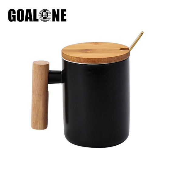 Ceramic Coffee Mug with Wood Handle