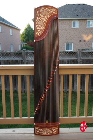 BUBINGA WOOD GUZHENG-- 'FLOWER PATTERN'