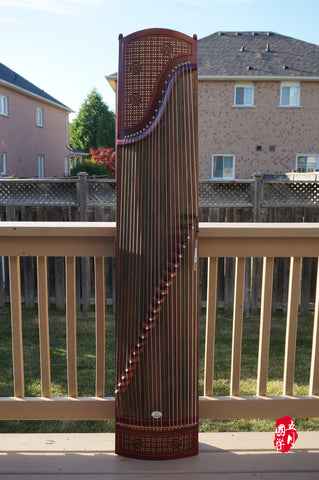 AFRICAN PURPLE SANDALWOOD GUZHENG -- 'CHINESE WINDOW GRILLE'