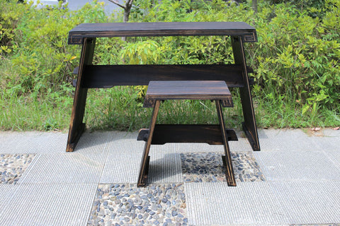 Paulownia Wood Guqin Table/Stool Set -- 燒桐木古琴桌椅套裝