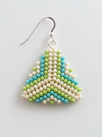 Beige, Green And Blue Beaded Triangle Earrings, Peyote Stitch Earrings - Lady Likes Jewelry - 1