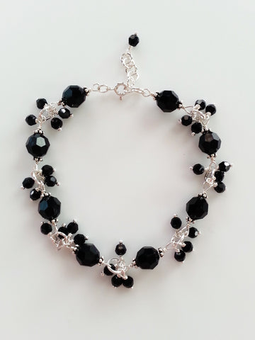 Black Crystal and Sterling Silver Bracelet - Lady Likes Jewelry - 1