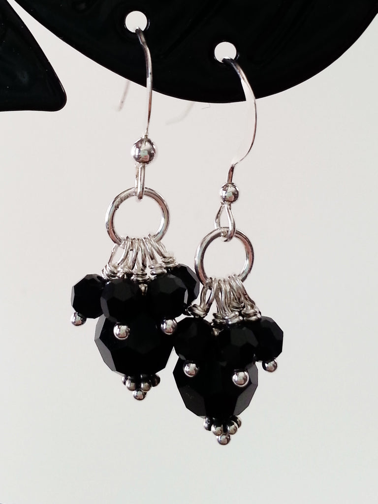Black Crystal Sterling Silver Earrings - Lady Likes Jewelry