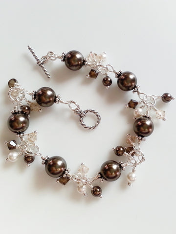 Brown and White Faux Pearl Sterling Silver Bracelet - Lady Likes Jewelry - 1