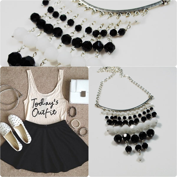 Black and White Statement Necklace - Lady Likes Jewelry - 3