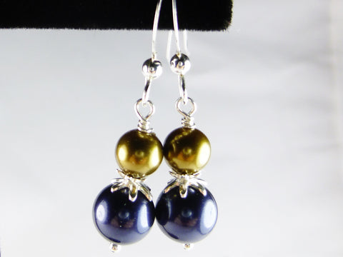 Dark Blue and Bronze Faux Pearl Drop Earrings, Sterling Silver Earrings - Lady Likes Jewelry - 1