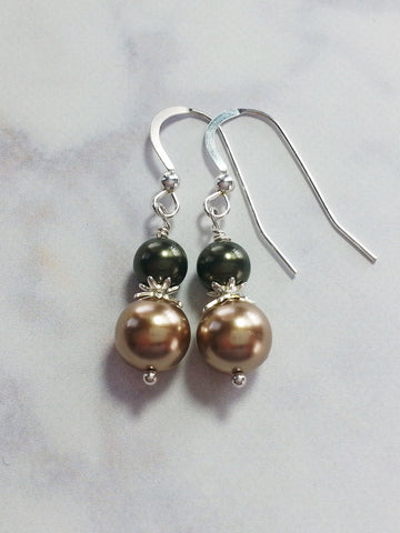 Gold Olive Faux Pearl Drop Earrings, Sterling Silver Earrings - Lady Likes Jewelry - 1