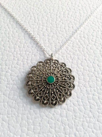 Antiqued Sterling Silver Plated Boho Necklace, Green Enamel Boho Necklace - Lady Likes Jewelry