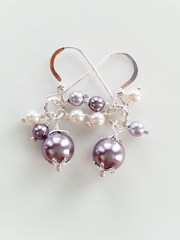 Lavender and White Faux Pearl Earrings, Sterling Silver Earrings - Lady Likes Jewelry - 1