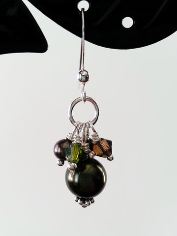 Olive Green and Brown Faux Pearl Earrings, Sterling Silver Earrings - Lady Likes Jewelry - 1