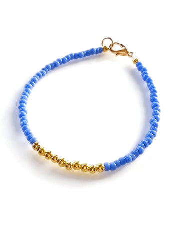 Periwinkle Gold Friendship Bracelet, Blue Beaded Bracelet