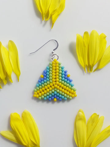 Green Blue Yellow Beaded Triangle Earrings, Peyote Stitch Earrings - Lady Likes Jewelry - 1