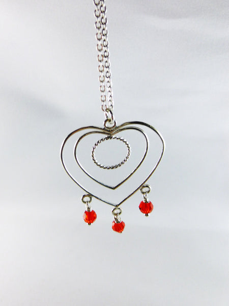 Red and Sterling Silver Heart-Shaped Necklace - Lady Likes Jewelry - 2
