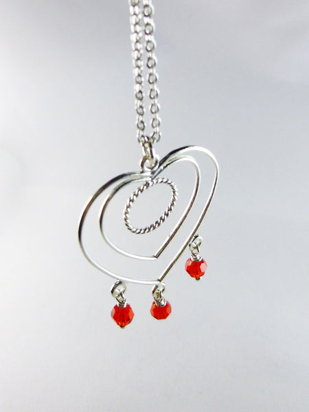 Red and Sterling Silver Heart-Shaped Necklace - Lady Likes Jewelry - 1