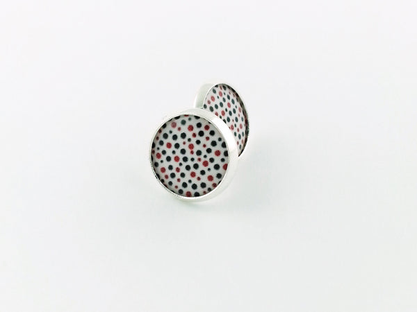 Red Black White Polka Dot Stud Earrings