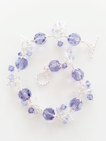 Crystal and Sterling Silver Bracelet in Tanzanite - Lady Likes Jewelry - 1