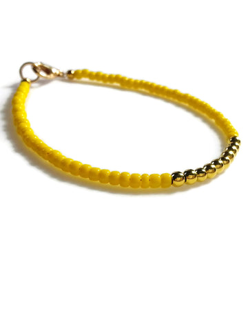 Yellow Friendship Bracelet with Gold Beads