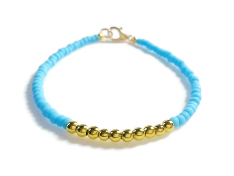 Baby Blue Gold Friendship Bracelet, Beaded Bracelet