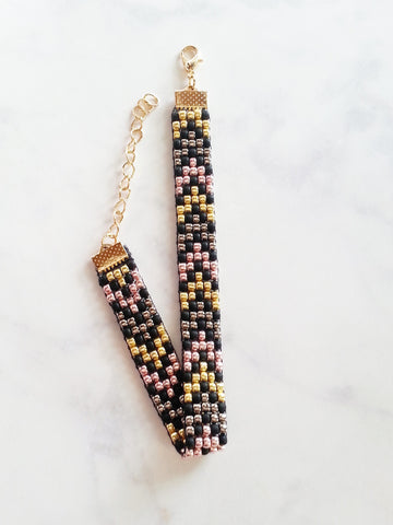 Chevron Beaded Bracelet in Black, Gold, Silver and Rose Gold