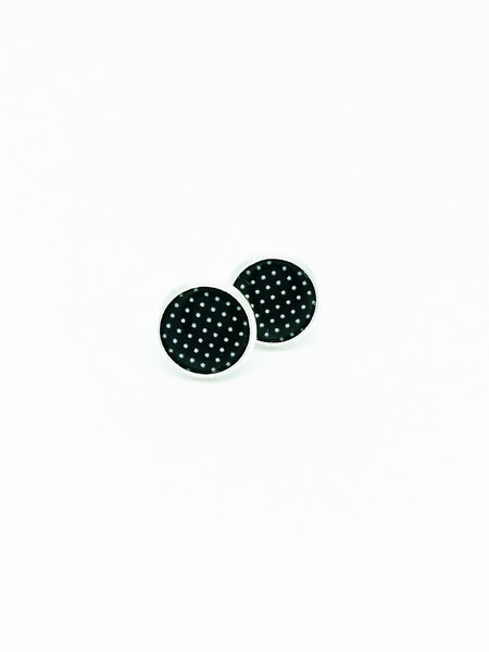 Black Polka Dot Stud Earrings