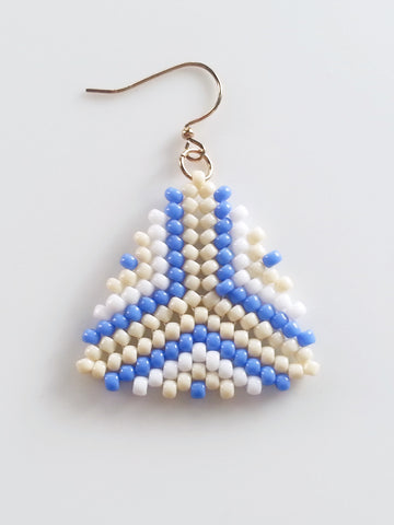 Beige, Blue and White Beaded Triangle Earrings, Peyote Stitch Earrings