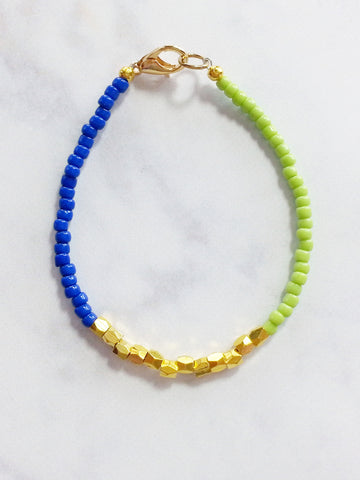 Blue Green Gold Friendship Bracelet, Beaded Gold Nugget Bracelet - Lady Likes Jewelry - 1