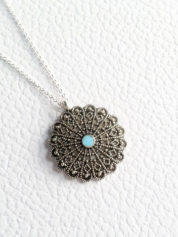 Antiqued Sterling Silver Plated Boho Necklace, Turquoise Enamel Boho Necklace - Lady Likes Jewelry - 1
