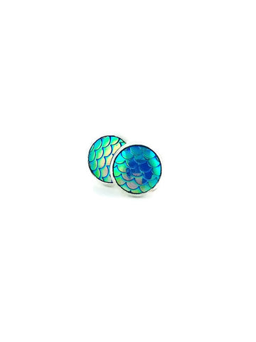 Blue Mermaid Scales Stud Earrings