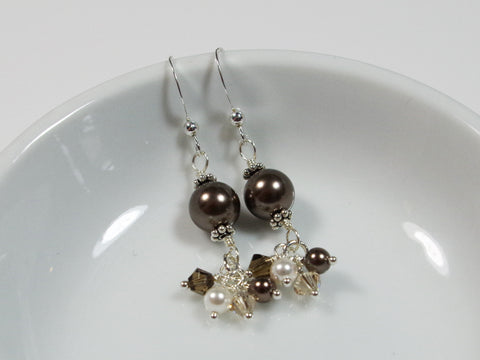 Brown and White Faux Pearl Sterling Silver Earrings - Lady Likes Jewelry - 1