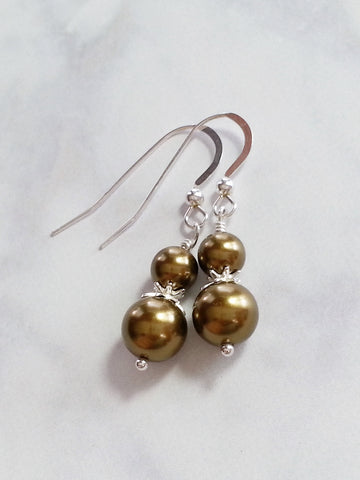 Brown Faux Pearl Sterling Silver Earrings