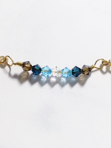 Crystal Bar Bracelet in Brown Blue Gradient