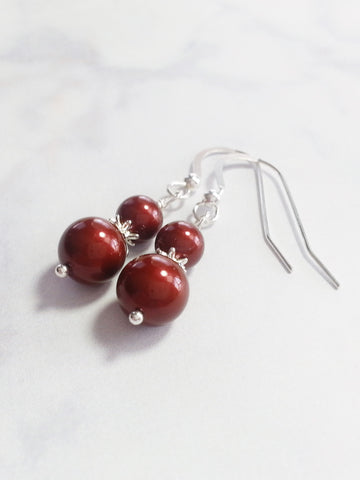 Deep Cherry Faux Pearl Drop Earrings, Sterling Silver Earrings - Lady Likes Jewelry - 1