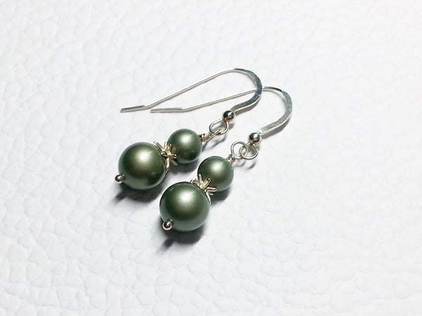 Frosted Green Faux Pearl Sterling Silver Earrings