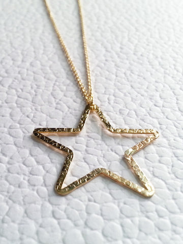 14k Gold Filled Textured Star Necklace, Dainty Gold Star Necklace - Lady Likes Jewelry - 1