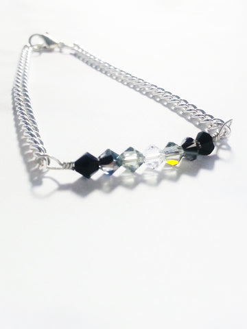 Crystal Bar Bracelet in Gray Gradient