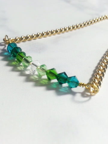 Crystal Bar Bracelet in Green Gradient