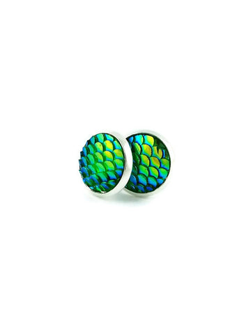 Green Mermaid Scales Stud Earrings