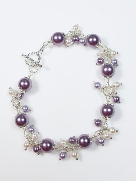 Lavender and White Faux Pearl Sterling Silver Bracelet - Lady Likes Jewelry - 1