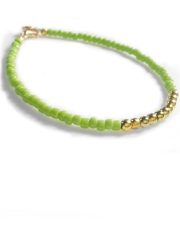 Light Green Gold Friendship Bracelet, Beaded Bracelet