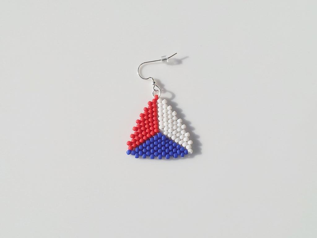 White Blue and Red Beaded Triangle Earrings - Lady Likes Jewelry - 1