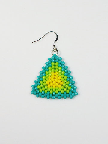 Blue Green and Yellow Beaded Triangle Earrings - Lady Likes Jewelry - 1
