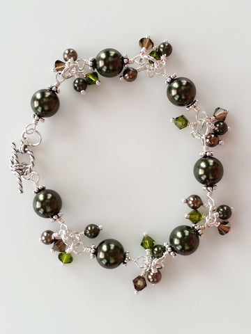Olive Green and Brown Faux Pearl Sterling Silver Bracelet - Lady Likes Jewelry - 1