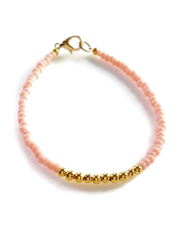 Pink Gold Friendship Bracelet, Beaded Bracelet